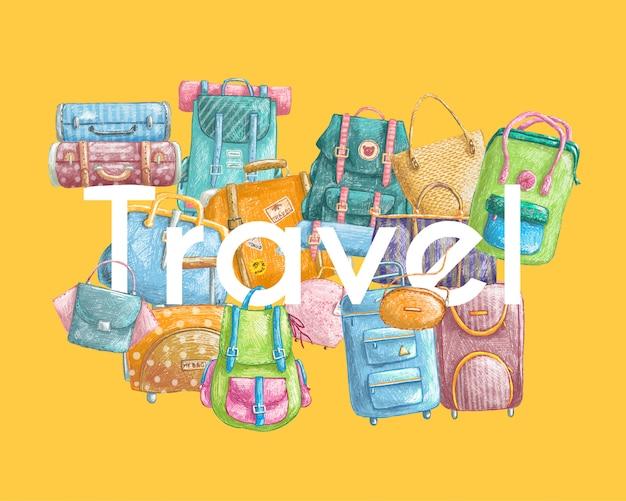 Illustrazione disegnata a mano con borse da viaggio Vettore Premium