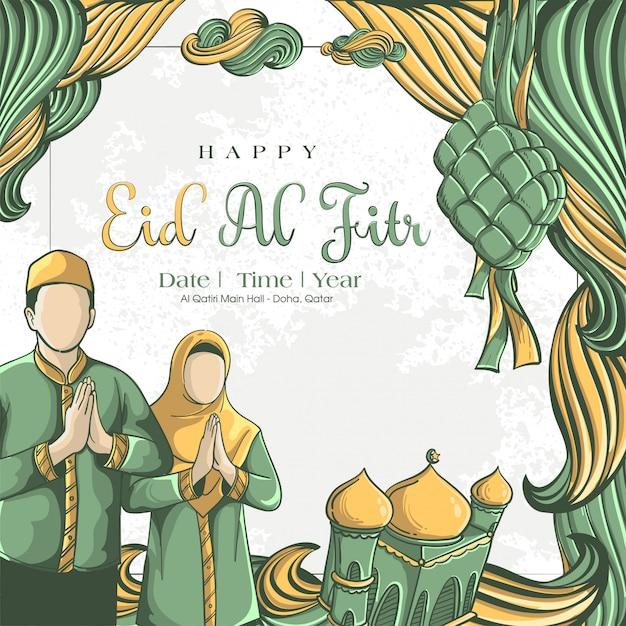 Illustrazione disegnata a mano del concetto della cartolina d'auguri di eid al fitr Vettore gratuito