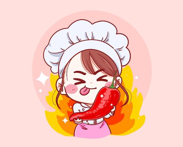Illustrazione disegnata a mano del fumetto femminile di holding chili del cuoco unico Vettore Premium