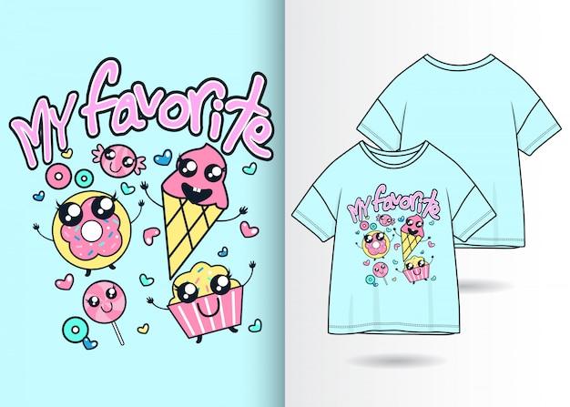 Illustrazione disegnata a mano del gelato sveglio con progettazione della maglietta Vettore Premium