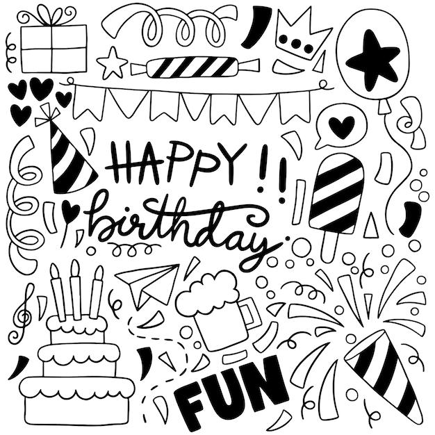 Illustrazione disegnata a mano del modello del fondo degli ornamenti di buon compleanno di scarabocchio del partito Vettore Premium