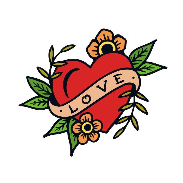 Illustrazione disegnata a mano del tatuaggio della vecchia scuola del segno di amore Vettore Premium