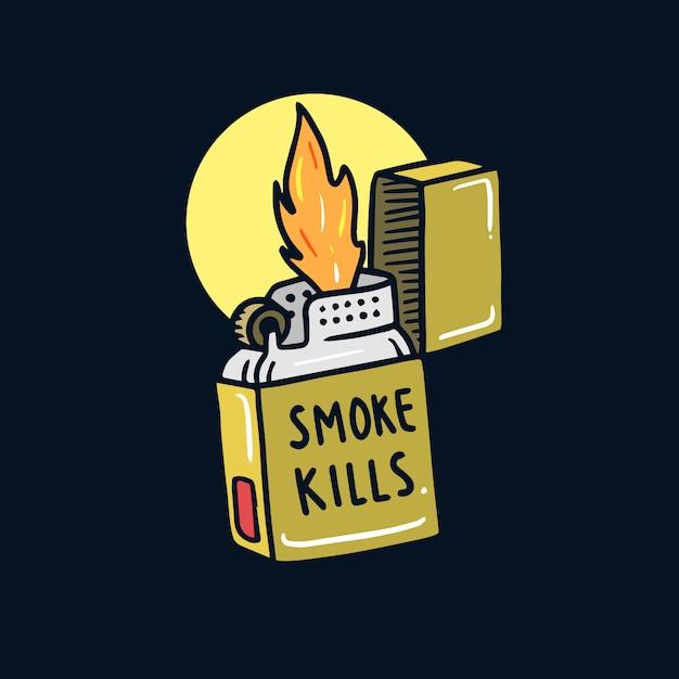 Illustrazione disegnata a mano del tatuaggio della vecchia scuola dell'accenditore non fumatori Vettore Premium
