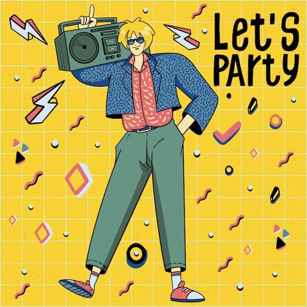Illustrazione disegnata a mano della discoteca di dancing di stile di anni 80 Vettore Premium