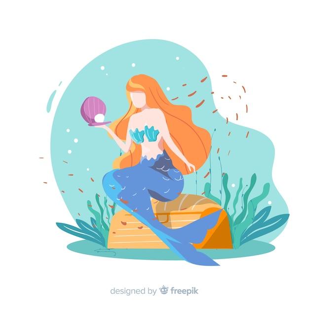 Illustrazione disegnata a mano della sirena Vettore gratuito