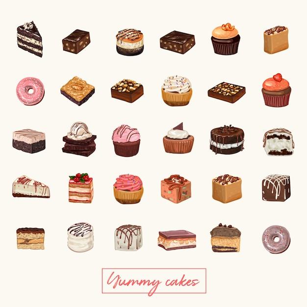 Illustrazione disegnata a mano della torta Vettore Premium