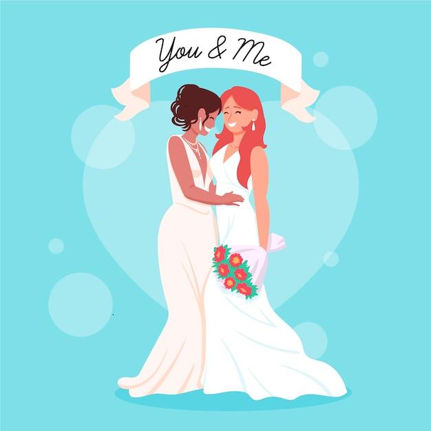 Illustrazione disegnata a mano delle coppie di nozze Vettore gratuito