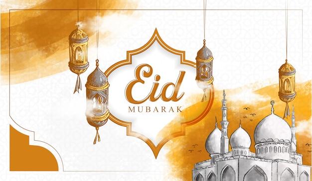 Illustrazione disegnata a mano di eid mubarak Vettore gratuito