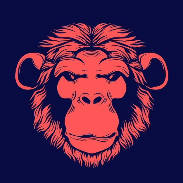 Illustrazione disegnata a mano di faccia di scimmia Vettore Premium