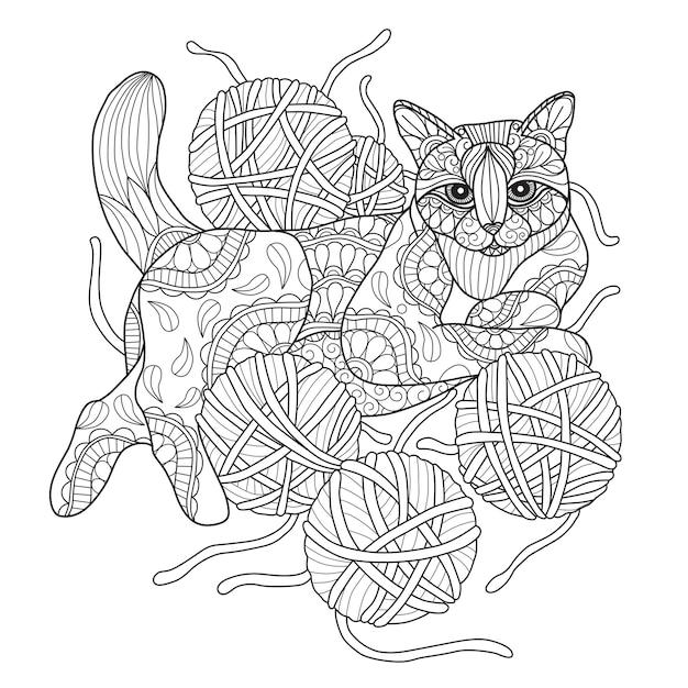 Illustrazione disegnata a mano di gatto e filati. Vettore Premium