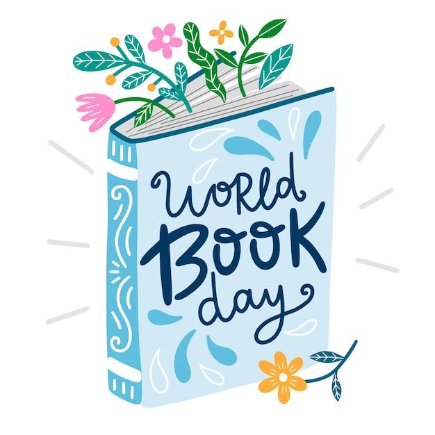 Illustrazione disegnata a mano di giorno del libro del mondo Vettore gratuito
