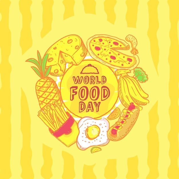 Illustrazione disegnata a mano di giorno dell'alimento mondiale Vettore Premium