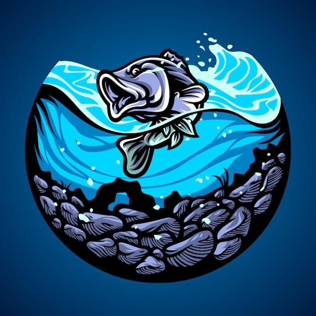 Illustrazione disegnata a mano di pesce Vettore Premium