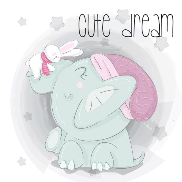 Illustrazione disegnata a mano di piccolo elefante sogno Vettore Premium