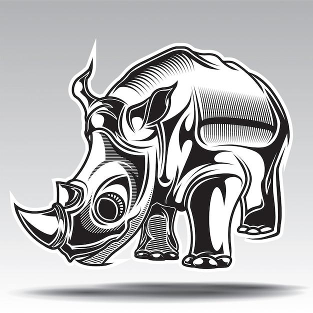 Illustrazione disegnata a mano di rinoceronte con elementi decorativi. Vettore Premium