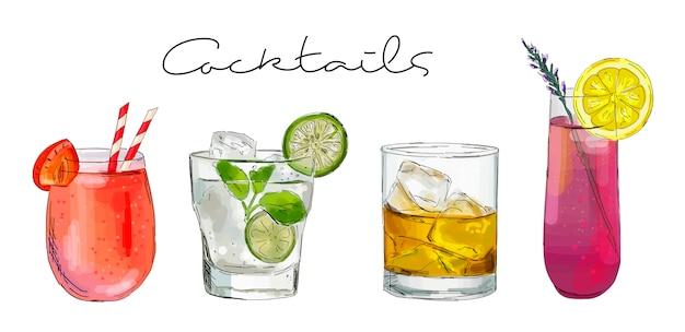 Illustrazione disegnata a mano di set di cocktail. Vettore Premium