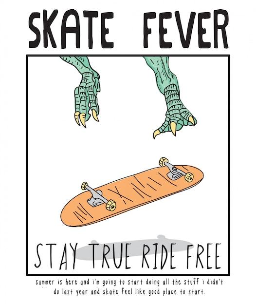 Illustrazione disegnata a mano di skateboard di febbre da skateboard Vettore Premium