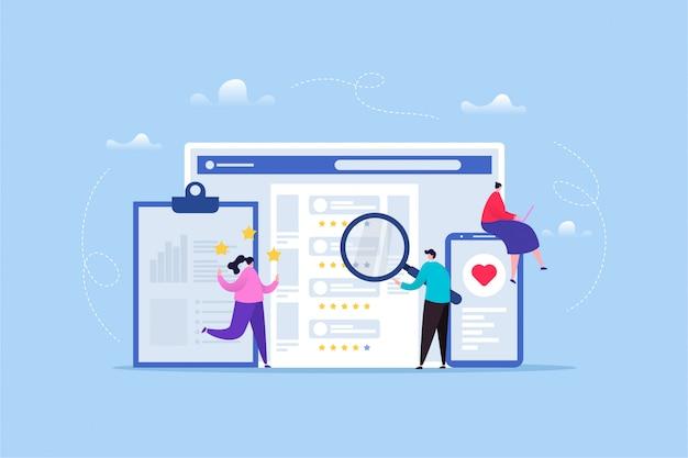 Illustrazione disegnata a mano di valutazione / feedback del cliente Vettore Premium