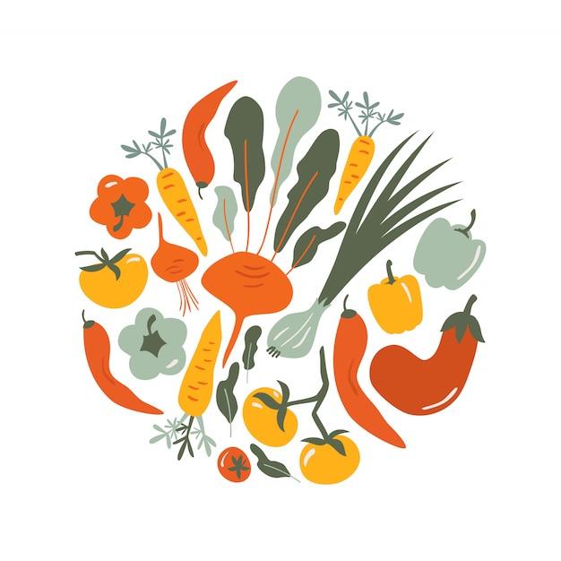 Illustrazione disegnata a mano di vettore dell'alimento la verdura scarabocchia intorno alla composizione per il menu del caffè, etichetta. Vettore Premium