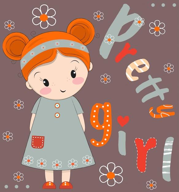 Illustrazione disegnata a mano di vettore della ragazza sveglia Vettore Premium