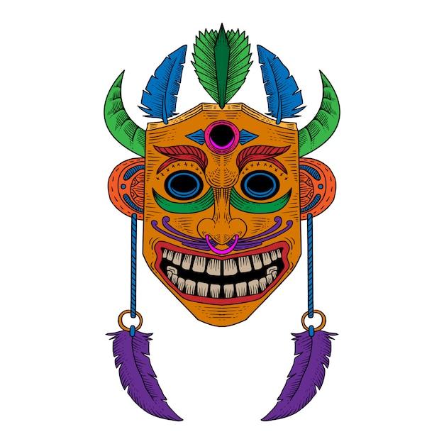 Illustrazione disegnata a mano festival di maschera di legno Vettore Premium