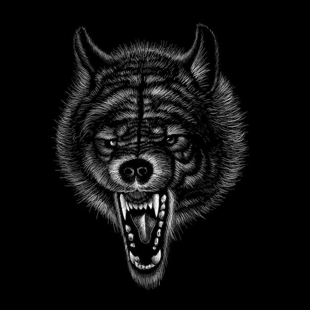 Illustrazione disegnata a mano in stile gesso del lupo Vettore Premium