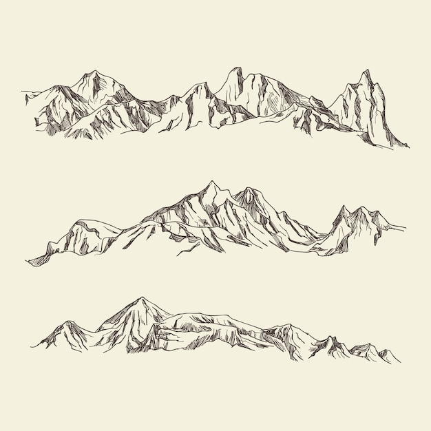 Illustrazione disegnata a mano montagne Vettore Premium