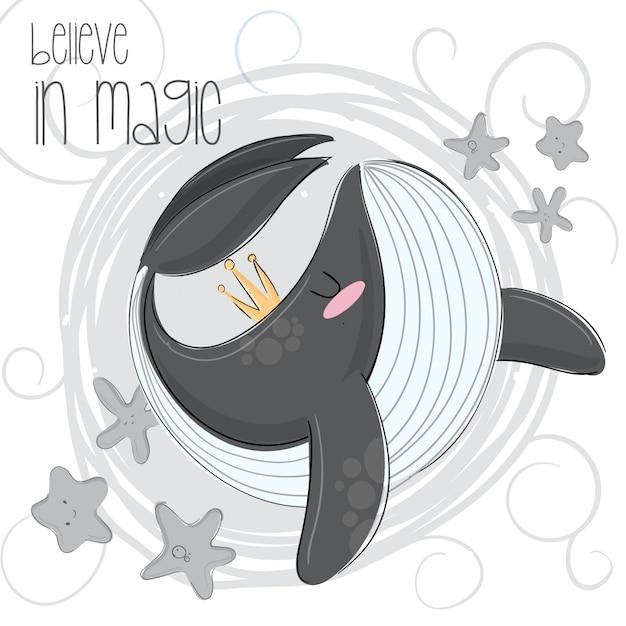 Illustrazione disegnata a mano orca carino Vettore Premium