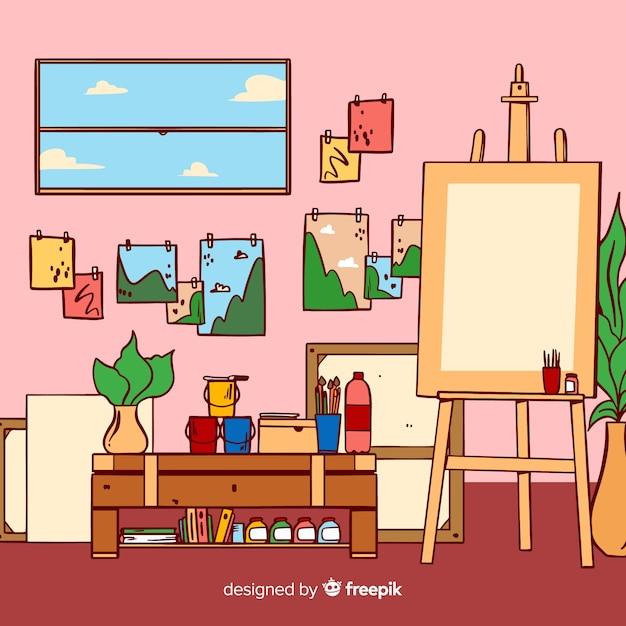 Illustrazione disegnata a mano sul posto di lavoro studio d'arte Vettore gratuito