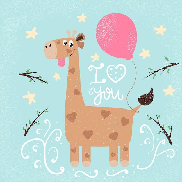 Illustrazione divertente giraffa. stampa per te idea. Vettore Premium