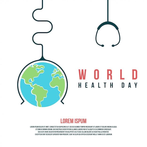 Illustrazione e fondo di giornata mondiale della salute per celebrare la giornata mondiale della salute Vettore Premium