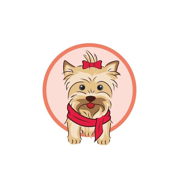 Illustrazione e logo del cane carino Vettore Premium
