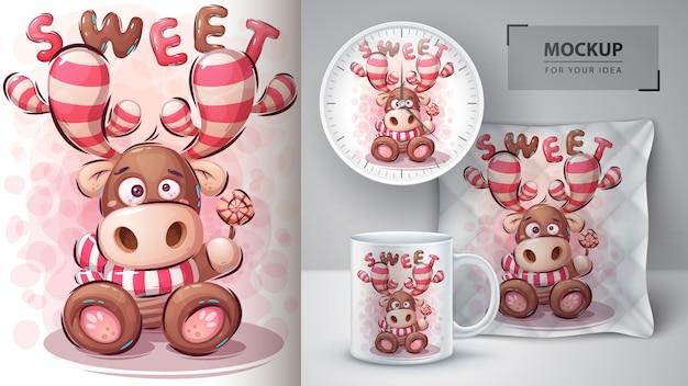 Illustrazione e merchandising dei cervi dolci. Vettore Premium