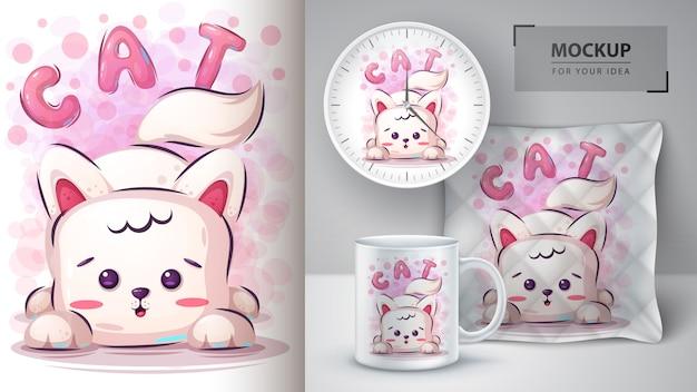 Illustrazione e merchandising svegli del gatto Vettore Premium