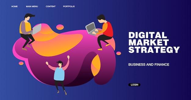 Illustrazione e progettazione dell'insegna di strategia di marketing digitale Vettore Premium