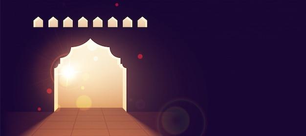Illustrazione elegante del cancello della moschea su sfondo viola. ramada Vettore Premium
