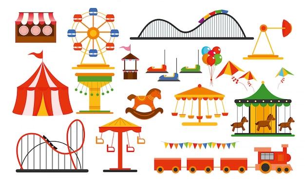 Illustrazione elementi del parco divertimenti su sfondo bianco. famiglia riposo nel parco di giostre con ruota panoramica colorata, giostra, circo in stile piatto. Vettore Premium