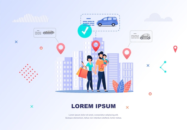 Illustrazione famiglia felice in cerca di auto in affitto Vettore Premium