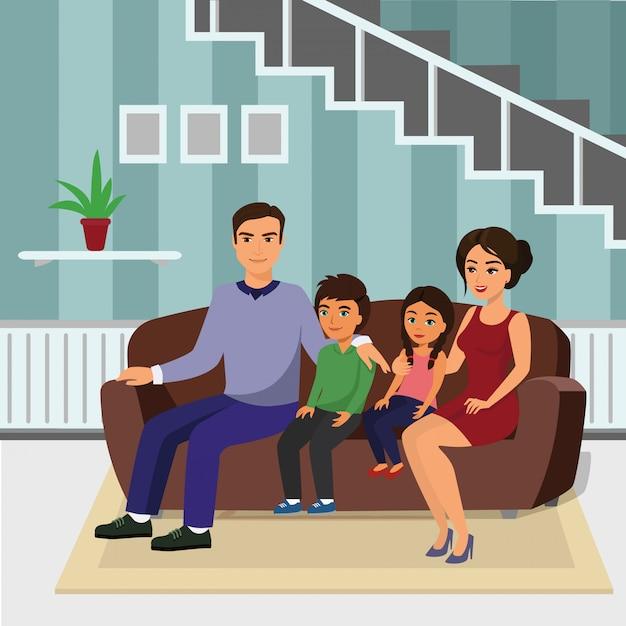 Illustrazione famiglia felice in salotto, seduta sul divano. padre, madre, figlio e figlia insieme seduti sul divano in stile cartone animato. Vettore Premium