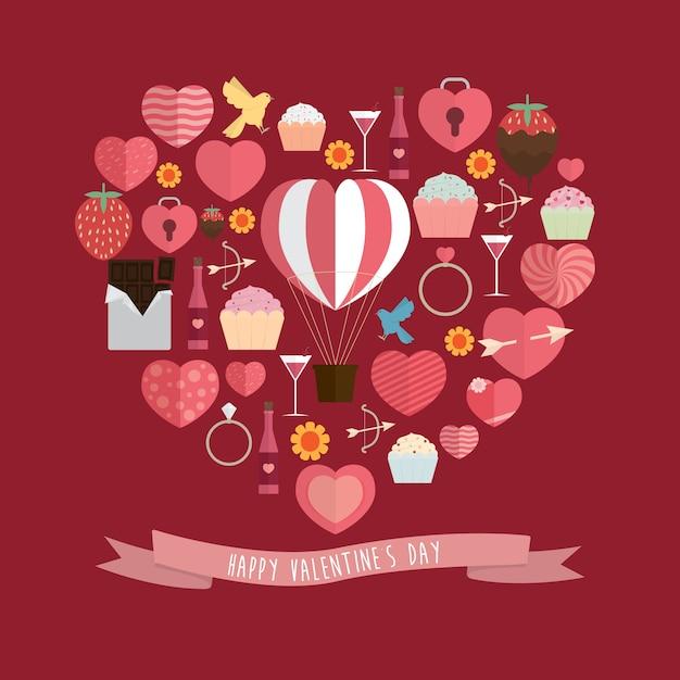 Illustrazione felice della priorità bassa di disegno di giorno del biglietto di s. valentino Vettore Premium