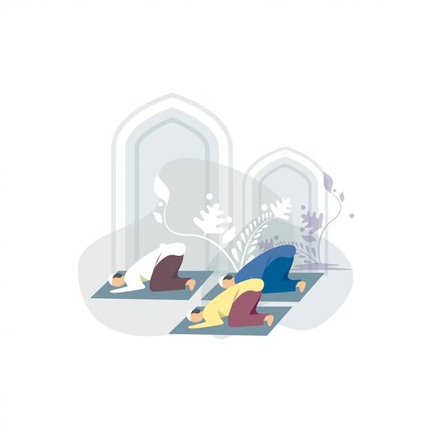 Illustrazione felice di concetto di saluti di ied mubarak Vettore Premium