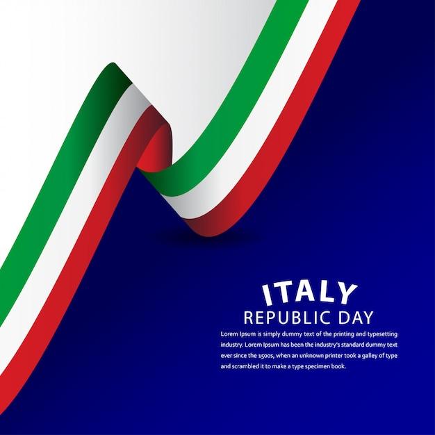 Illustrazione felice di progettazione del modello di celebrazione di festa della repubblica italiana Vettore Premium