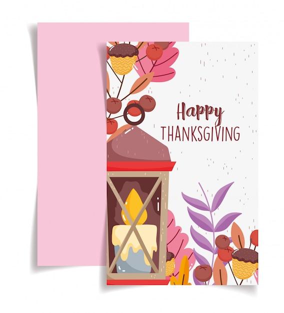 Illustrazione felice di ringraziamento delle ghiande e delle foglie della candela di celebrazione Vettore Premium