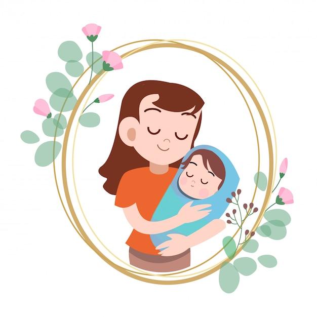 Illustrazione felice di vettore di saluto della carta di giorno di madri Vettore Premium