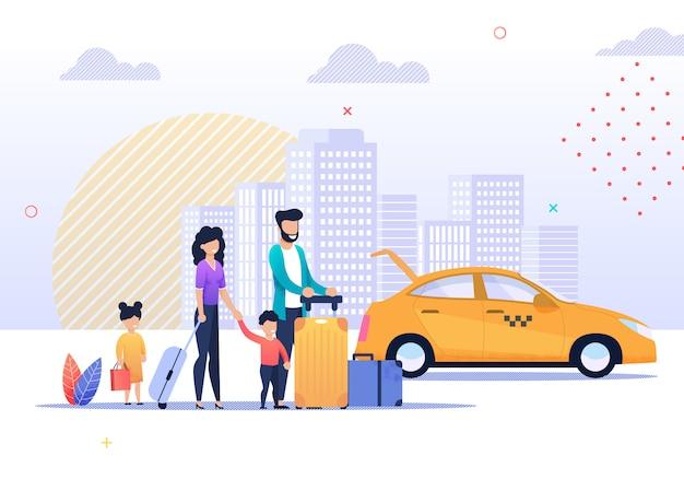 Illustrazione felice di viaggio di viaggio e di tassì della famiglia Vettore Premium