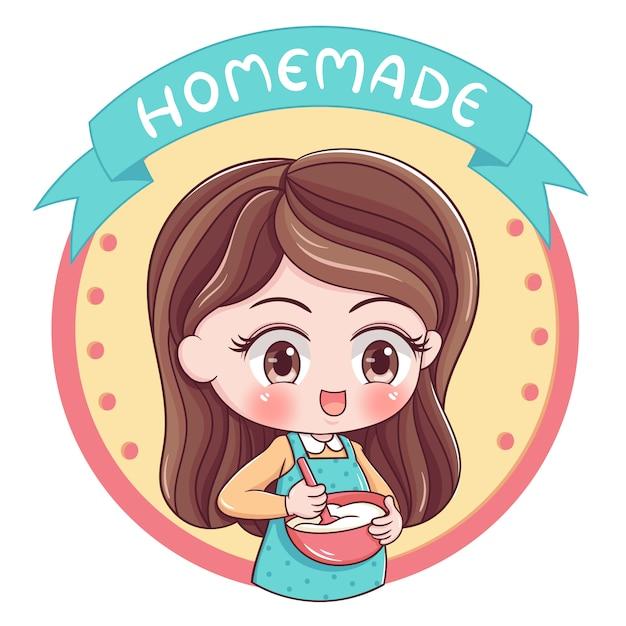 Illustrazione femminile del panettiere Vettore Premium