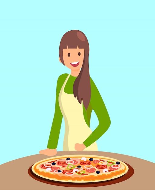 Illustrazione femminile della pizza d'offerta del cuoco unico del ristorante Vettore Premium