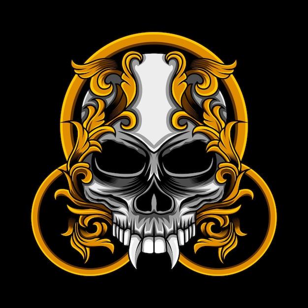Illustrazione floreale del cerchio del cranio Vettore Premium
