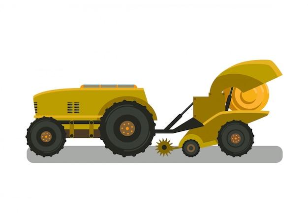 Illustrazione gialla di vettore di colore della macchina della pressa per balle di giallo Vettore Premium