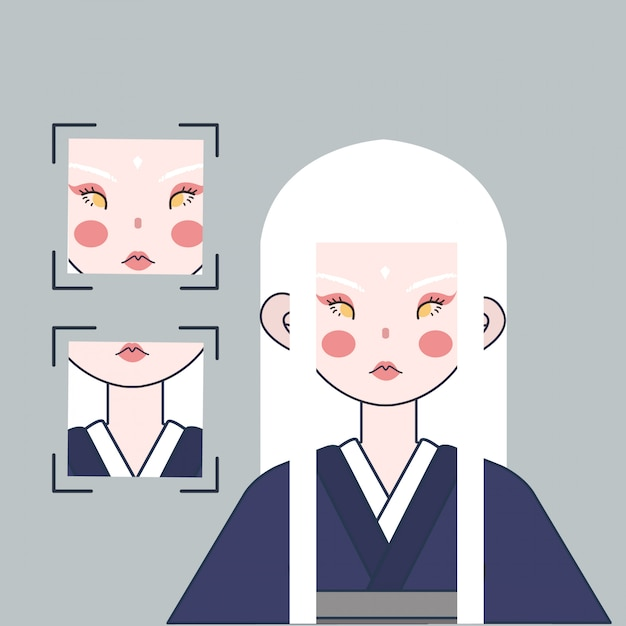 Illustrazione giapponese della ragazza dei capelli bianchi Vettore Premium